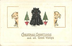 black cat, two puppies, two minature Christmas trees
