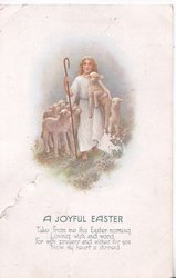 A JOYFUL EASTER  Jesus as shepherd, lambs, verse see belolw