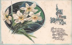 A HAPPY BIRTHDAY TO YOU, verse below, embossed bunch of narcissi in green oval