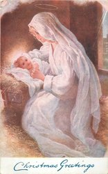 CHRISTMAS   GREETINGS in blue, Madonna looks down at Jesus in manger