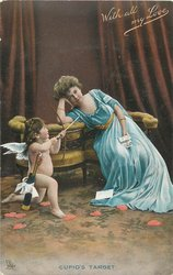 CUPID'S TARGET cupid kneels aiming arrow at seated lady in blue