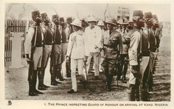 THE PRINCE INSPECTING GUARD OF HONOUR ON ARRIVAL AT KANO, NIGERIA