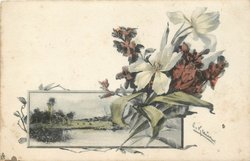white anemones & red wallflowers, inset of watery rural view