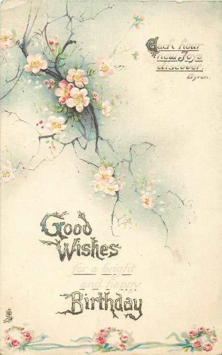 GOOD WISHES BIRTHDAY pale pink roses cascade down card
