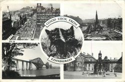 5 insets, 4 views round circular inset GOOD LUCK FROM EDINBURGH round 3 black Scottie dogs