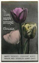 MANY HAPPY RETURNS COUSIN  3 tulips