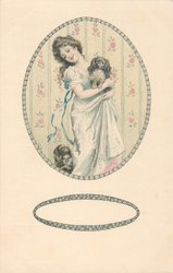 pretty girl stands cuddling pekingese dog, another on floor lower left, designs in oval designed borders