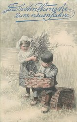 boy sitting on log and girl standing both with decorative branches, swamp behind