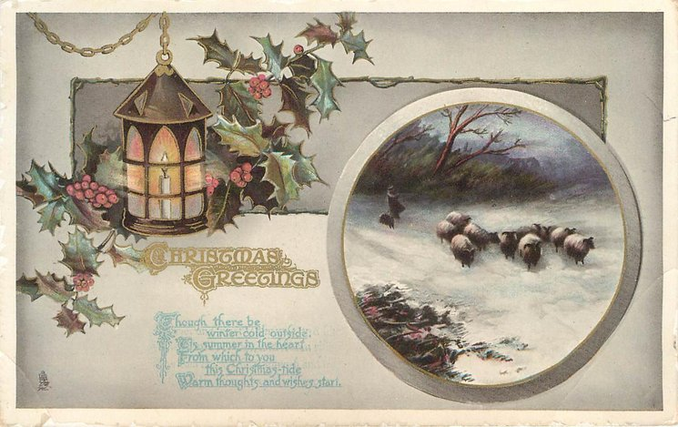 CHRISTMAS GREETINGS sheep in inset, lantern, holly around