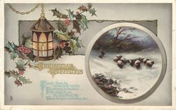 CHRISTMAS GREETINGS sheep in inset, lantern, holly around