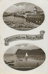 2 insets, GREETINGS FROM ISLE OF MAN, PIER AND HARBOUR, DOUGLAS, I.O.M., BRADDA HEAD,PORT ERIN, I.O.M.
