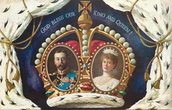 GOD BLESS OUR KING AND QUEEN  King and Queen in ovals in ermine tipped crown ,ermone surrounds