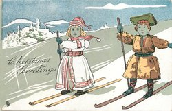 CHRISTMAS GREETINGS, boy and girls on skis
