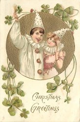 CHRISTMAS GREETINGS, Pierrot and Pierrette raise arms holding ice cream cones
