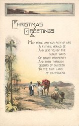 CHRISTMAS GREETINGS, Egyptian life, palms, camel, mule, inset of pyramids