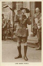 SIR ROBERT BADEN POWELL, blowing a Kudu horn