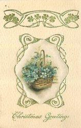 CHRISTMAS GREETINGS, flower insert with gilt design