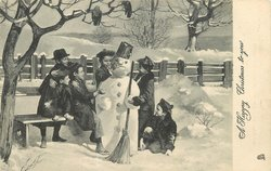 A HAPPY CHRISTMAS TO YOU six kids play with a snowman, snowman has broom and can on head