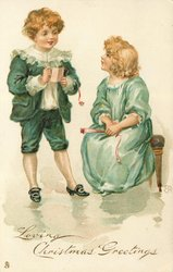 LOVING CHRISTMAS GREETINGS, boy stands with dance card, left, and girl sits on bench, right