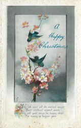 A HAPPY CHRISTMAS, two birds with blossom