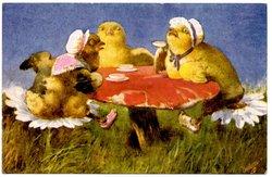 three formally dressed chicks talk left, drinking tea on a mushroom