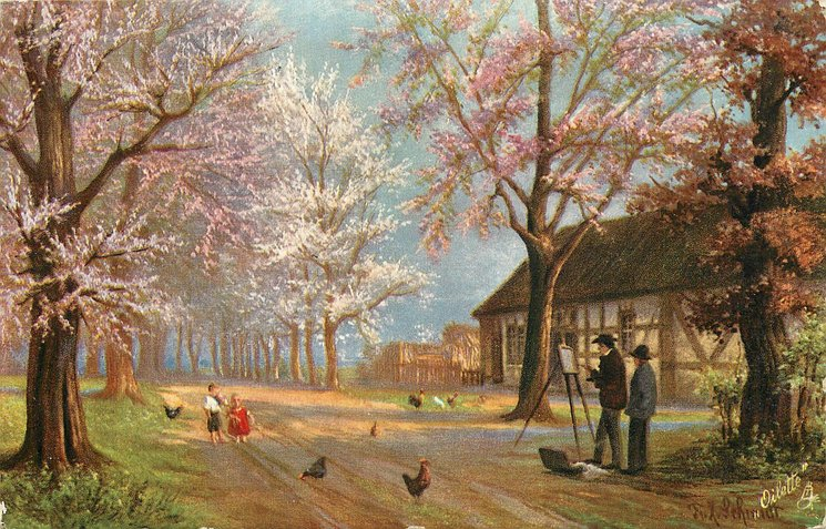 man draws two small children, poultries around, woman behind him, blossom tree on both side of road, cottage right