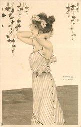 girl stands facing left, hands behind her head, elbows forward, vines hanging